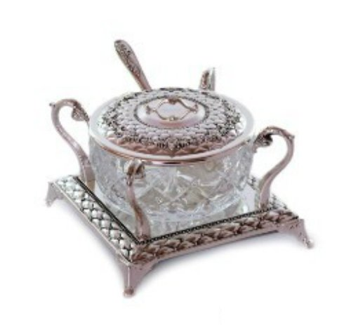 Quality Judaica Rosh Hashanah Glass Honey Dish With Silver Plated Spoon and ()