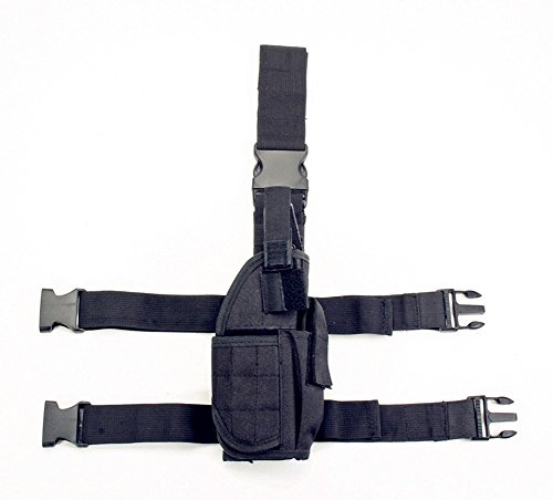 Belt Gun Holster Costume (Evermacro Adjustable Tactical Army Drop Leg Holster for Pistol Gun Drop Puttee Thigh Holder (Black))