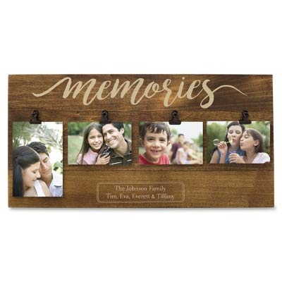 Things Remembered Personalized Memories Four Photo Clip Wall Frame, Picture Frame with Engraving Included