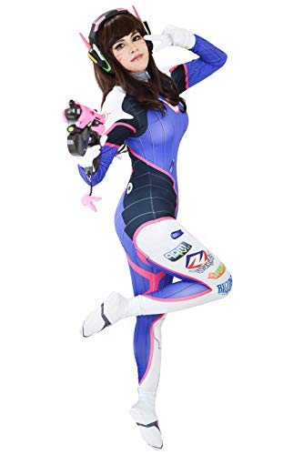 DAZCOS US Size Rabbit Bodysuit Blue Cosplay Costume with Gloves (Women X-Small) (Best D Va Cosplay)