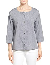 Eileen Fisher Denim Linen & Cotton Ballet Neck High/Low Shirt (M)