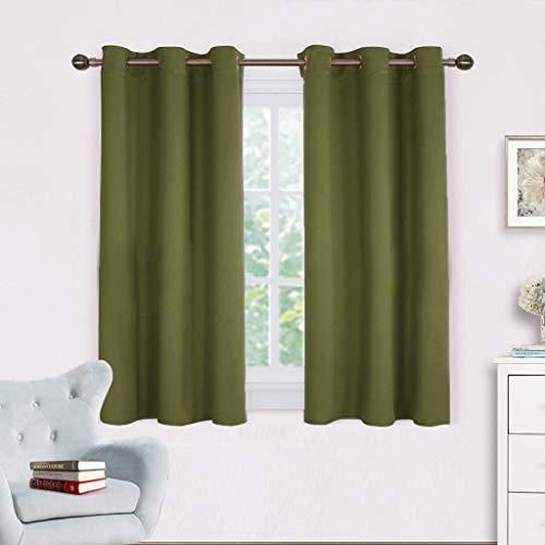 Green Kitchen Curtain - NICETOWN Bedroom Curtain Panels Blackout Draperies, Thermal Insulated Solid Grommet Blackout Curtains/Drapes (One Pair,42 by 45-Inch,Olive Green)
