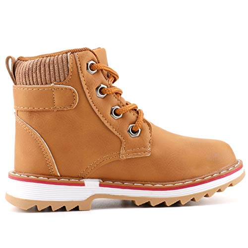 a53df395e1a Femizee Boys Lace Up Work Boots Classic Waterproof Outdoor Hiking Booties  for Kids, Wheat, 1946 CN27