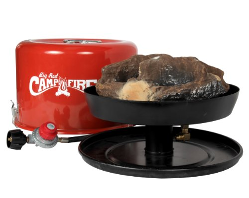 "Camco ""Big Red Campfire"" 13.25-Inch Portable Propane Outdoor Camp Fire, Approved For RV Campgrounds, 65,000 BTU's, Includes 10 Foot Propane Hose by Camco"