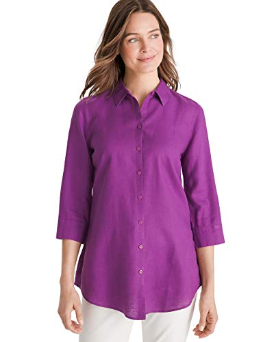 (Chico's Women's No-Iron Linen Side-Button Tunic Size 8 M (1) Purple)