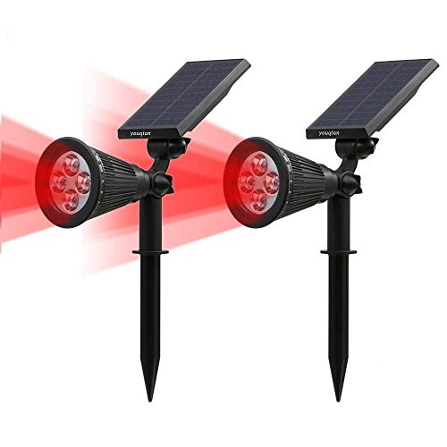 Solar Lights Outdoor, Youqian 4-LED Spotlight Wall Light 180° Adjustable Waterproof Outdoor Security Pathway Lighting Auto On/Off 2-in-1 Solar Wall Night Lights(2 Pack, Red)
