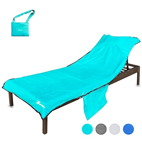YOULERBU Beach Chair Cover with Pillow Breathable Sponge Thickened Pool Lounge Chair Towel Beach Towel with Side Pockets Teal by YOULERBU