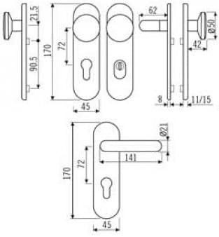 Kurzschild-Wechselgarnitur mit ZA V2a Edelstahl matt 72er Abstand SK2 ES1 G-Form Dr/ücker