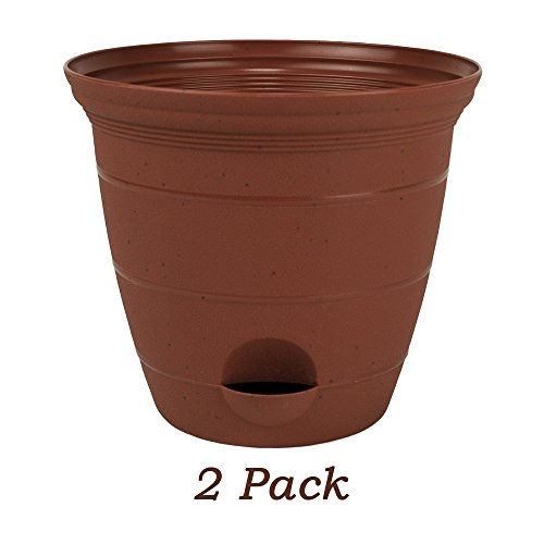 2 Pack 10 Inch Plastic Self Watering Flower Plant Pot Garden Potted Planter, Clay Color by HowPlumb