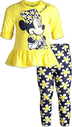Kids Minnie Mouse Outfit (Disney Little Girls' Minnie Mouse Ruffle Tunic Shirt & Legging Outfit Set (Yellow,)