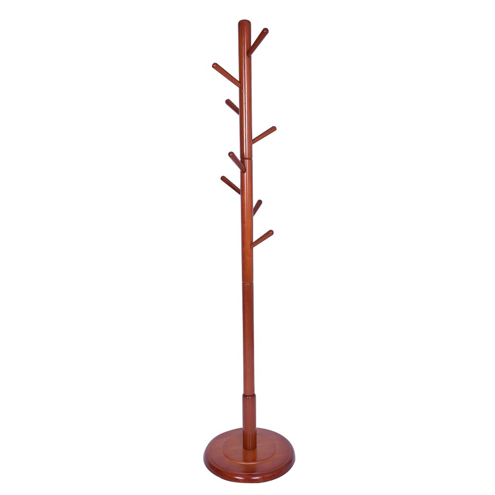 JS HOME Wooden Coat Rack Floor Standing 8 Hooks Wood Tree Stand Walnut Finish