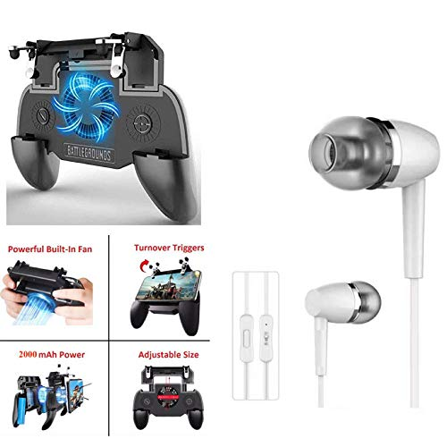 PUNIX® – Universal Gamepad for Mobile with Cooling Fan, 2000mAh Power Bank With Fire Shooter Buttons Joystick & Premium in-Ear Headsets & Mic, Bass, Equalizer & 3.5mm Jack For Android & iOS (Assorted)