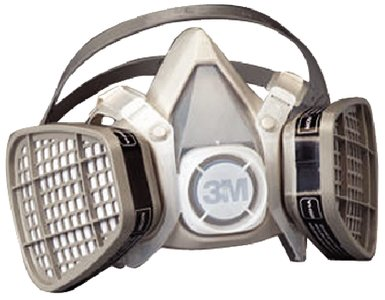 "3M 5301 Large Black Thermoplastic Elastomer Half Mask 5000 Series Disposable Air Purifying Respirator With 4 Point Harness, English, 15.34 fl. oz., Plastic, 13.6"" x 12.8"" x 3.1"""