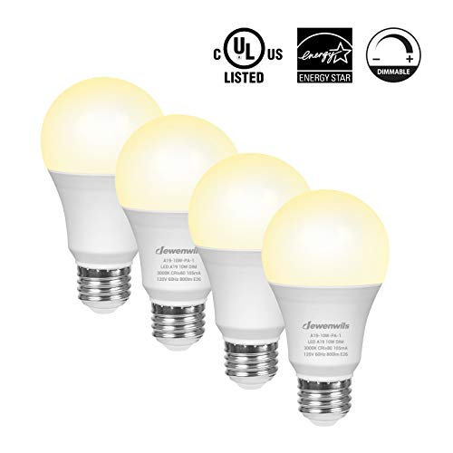DEWENWILS 4-Pack Dimmable LED A19 Light Bulb,