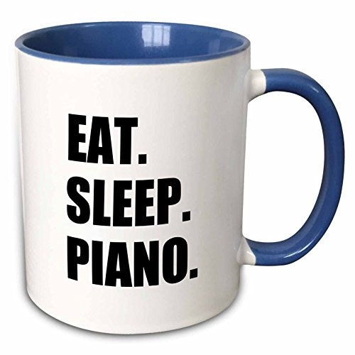 3dRose 180428_6 Eat Sleep Piano - Gift For Pianist Playing Musicians Music Black Text Two Tone Mug, 11 oz, Multicolor