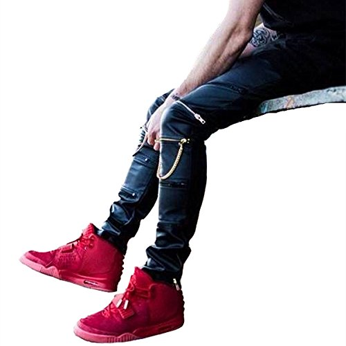 CLANMILUMS Men's Black Slim Fit Soft PU Faux Leather Biker Pants (34, ()