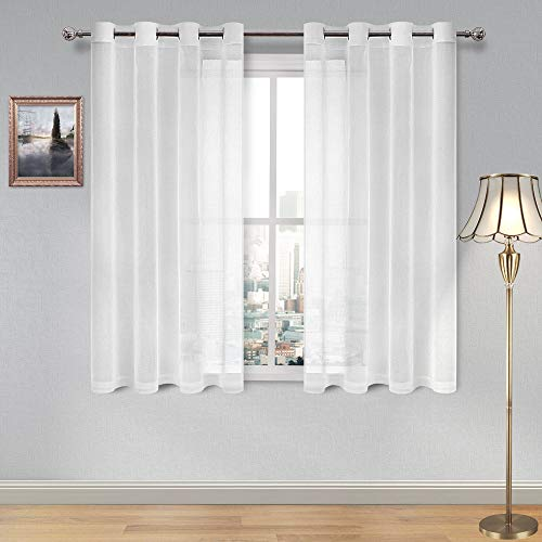 DWCN Sheer Curtains Linen Look Grommet Curtain for Bedroom White Window Curtains for Kitchen Room Set of 2 Panels,52 x 54 Inch Long