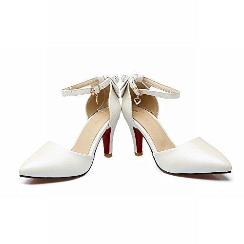 Charm Foot Womens Sweet Pionted Toe Cinturino Alla Caviglia Dorsay Tacchi Alti Scarpe Bianche