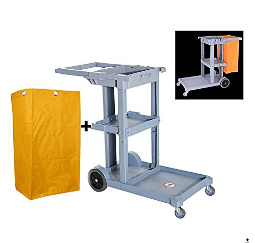 Janitorial Cleaning Cart Yellow Grey Trolley Utility Janitorial Cleaning Cart Rolling Janitor UItility Cart w/ 3 Shelves & Vinyl Bag Equipment Occupation Working Office Warehouse Factory Industrial