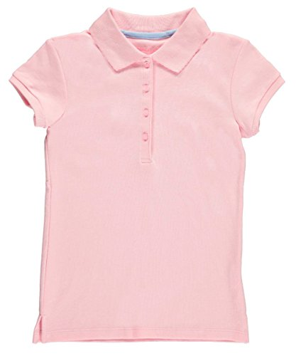 Nautica Big Girls' School Uniform Knit Polo with Picot Collar - Pink, 12-14