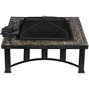 HIO 34-Inch Natural Slate Top Outdoor Fire Pit with Spark Screen, Steel Wood Grate, Protective Cover and Safety Poker