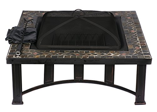Hio 34 Inch Natural Slate Top Outdoor Fire Pit With Spark