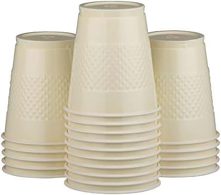 JAM PAPER Bulk Plastic Party Cups - 12 oz - Ivory - 200 Glasses/Box