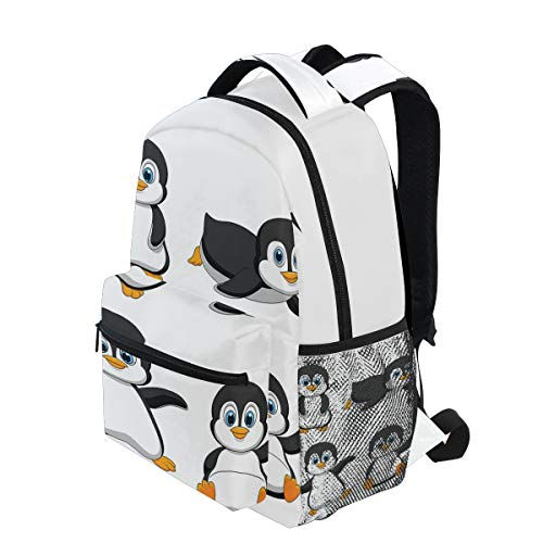 - KVMV Cute Penguin Cartoon Waving Standing Sliding Smiling Animal Humor Antarctica Lightweight School Backpack Students College Bag Travel Hiking Camping Bags