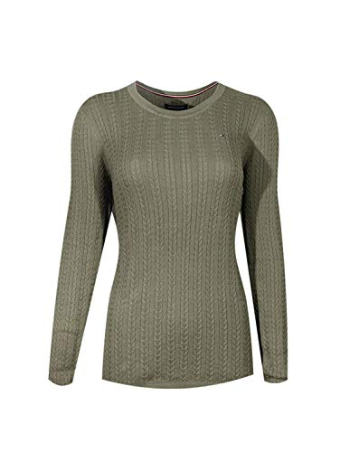 Tommy Hilfiger Womens Cable Knit Cotton Logo Sweater, Military Green (S)