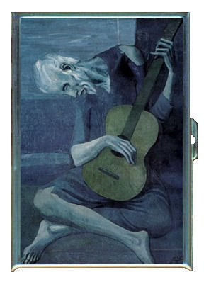 Pablo Picasso The Old Guitarist Double-Sided Cigarette Case, ID Holder, Wallet with RFID Theft (Old Cigarette Holders)