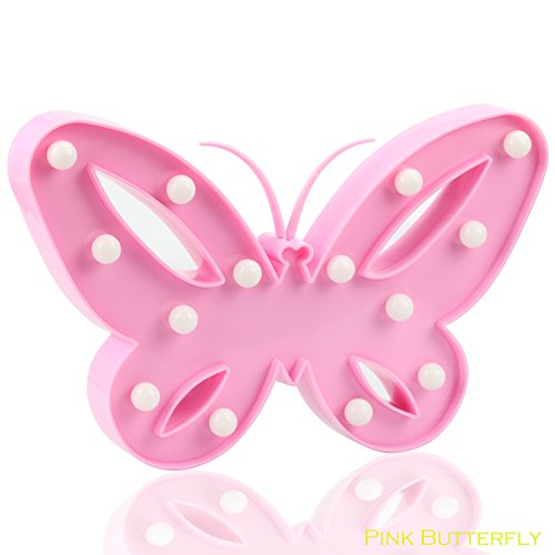 Pink Butterfly LED Light LED Battery Light,Wtiaw Home Decor [Christmas Gift][Birthday Party Decorations] Kids Room, Living Room, Wedding Party Decor Romantic Night Desktop Night Light.