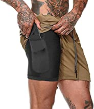 Mens 2 in 1 Workout Running Shorts Compression Training Shorts with Pockets Quick-Drying Shorts Jogging Pants