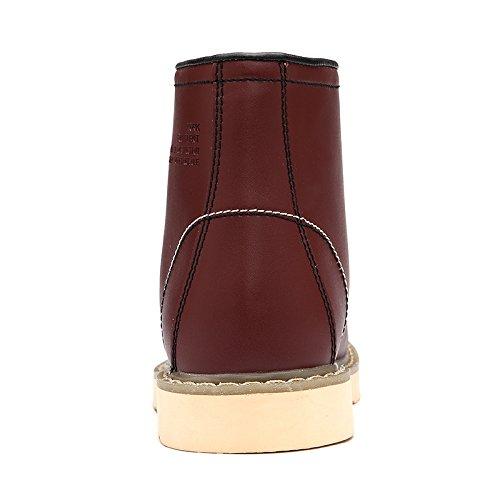 Abby 0027 Mens Vinter Mode Eleganta Avslappnade Fantastiska High-top Plus Värmande Ull Arbets Fotled Läderstövlar Brun