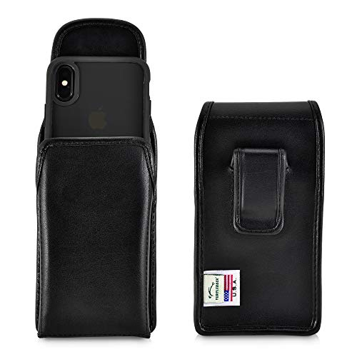 Turtleback Holster Designed for iPhone Xs (2018) / Designed for iPhone X (2017) Vertical Belt Case Black Leather Pouch with Executive Belt Clip, Made in USA - Executive Vertical Case