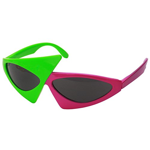 (Asymmetric 80's Sunglasses - Green & Rose Red 2-Color Party Favors, Novelty Shades, Rock Star Costume Glasses Toys, Funny Glasses Accessories for Kids & Adults)