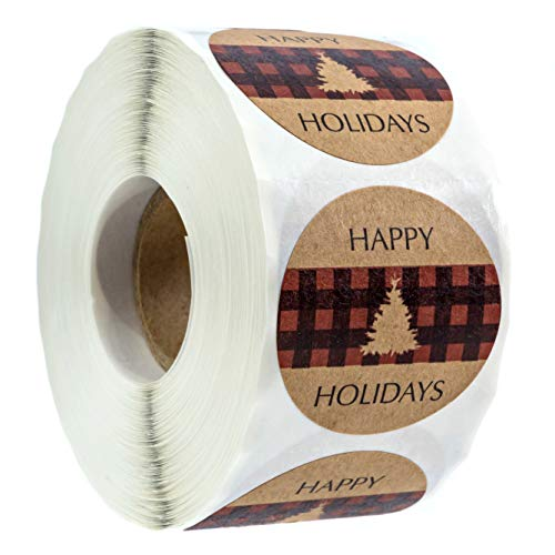 Northwoods Buffalo Plaid Christmas Stickers/500 Christmas Tags/Happy Holidays with Trees ()
