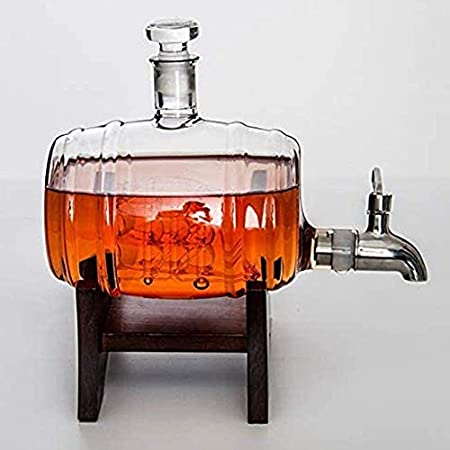 KEKEYANG Whisky Decanter Set Marco de Madera con el Grifo de Vino Barril en Forma de Botella de Cristal 1000ml con 2 Taza de Vidrio, Whisky Regalo de Fiesta de Halloween Licorera