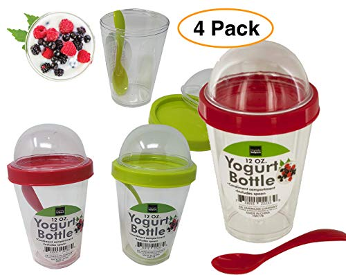 (Yogurt Cup Reusable 12 oz. with Lid Top Compartment & Spoon | Cereal, Granola & Fruit (4 Pack))