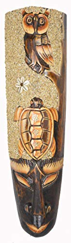WorldBazzar African Forest OWL with Turtle Beach Sand Detail Mask Large Jungle Forest Art 20