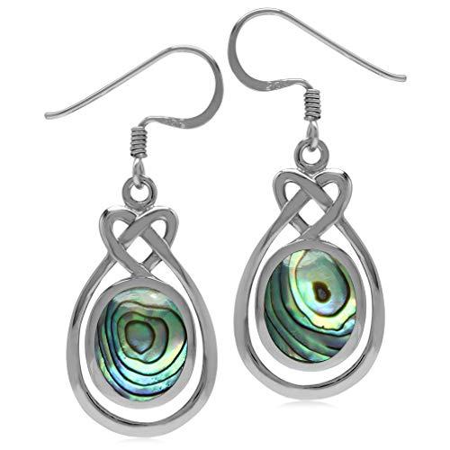 Silvershake 10X8mm Oval Shape Abalone Paua Shell Inlay 925 Sterling Silver Celtic Heart Knot Dangle Earrings