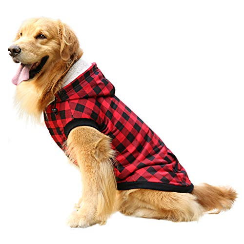 ASENKU Dog Winter Coat Thicker Fleece Dog Hoodie Jacket British Plaid Pet Warm Outfit with Removable Hat Windproof Vest for Small Medium Large Dogs (5XL, Red)