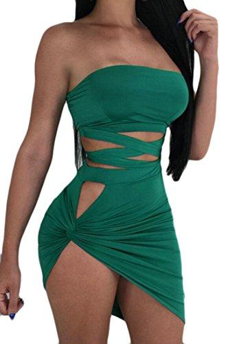 De L'épaule Torsion Bandage Sexy Mini Robe Moulante Club De Vert Des Femmes Domple