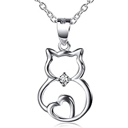Sterling Silver Cubic Zirconia -Accented Cat Pendant Necklace, 18""