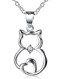 """S925 Sterling Silver Cute Cat Lover Gifts Animal Pendant Necklace, 18"""""""
