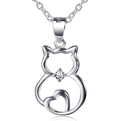 "S925 Sterling Silver Cute Cat Pendant Necklace, 18"" (Single Cat)"