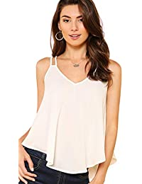 74f66afcccff03 Women s Flowy V Neck Strappy Loose Tank Tops Camisole Shirt