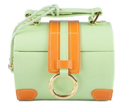 Diamond Collection Round Travel Jewellery Box Case Green & Orange