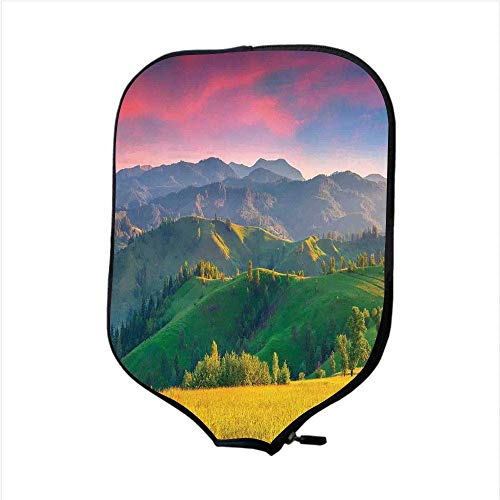 Grip Sun Valley - VANKINE Neoprene Premium Pickleball Paddle Racket Cover Case,Nature,Summer Sunrise in The Mountains with Rolling Hills and Valleys in Morning Light Deco Decorative,Multi,Fit for Most Rackets