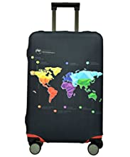 Spandex Luggage Cover for Travel- HoJax Suitcase Cover Protector for Samsonite Delsey Fit 26-28 Inch Luggage (Map, Large)