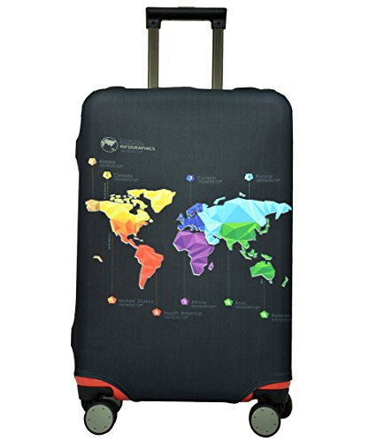 Spandex Luggage Cover for Travel- HoJax Suitcase Cover Protector for Samsonite Delsey Fit 29-32 Inch Luggage (Map, X-Large)